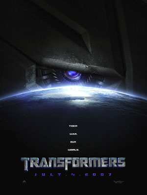 Pictured is the US advance promotional one-sheet for the 2007 Michael Bay film Transformers, starring Shia LaBeouf.