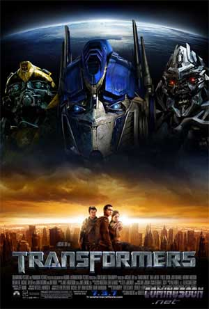 Pictured is the US promotional one-sheet for the 2007 Michael Bay film Transformers, starring Shia LaBeouf.