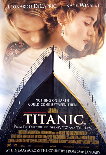 Pictured is the style A 40x60 bus stop poster for the 1997 James Cameron film Titanic, starring Kate Winslet and Leonardo Dicaprio