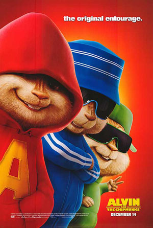 This is a picture of the US advance promotional poster for the 2007 Tim Hill film Alvin and the Chipmunks starring Jason Lee.