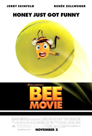 Pictured is the US promotional one-sheet poster for the 2007 Steve Hickner and Simon J. Smith film Bee Movie starring Jerry Seinfeld and Renee Zellweger.