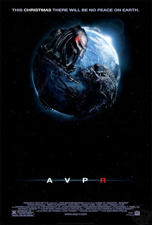 Pictured is the US one-sheet promotional poster for the 2007 Colin Strause and Greg Strause film AVPR Alien vs. Predator Requiem starring Steven Pasquale.
