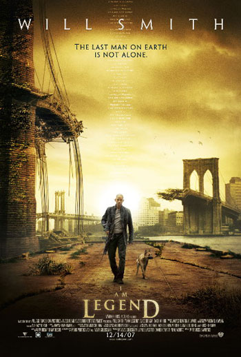 Pictured is the US promotional one-sheet poster for the 2007 Francis Lawrence film I Am Legend starring Will Smith.