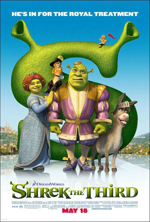 Pictured is the US promotional one-sheet for the 2007 Chris Miller and Raman Hui film Shrek the Third, starring Mike Myers.