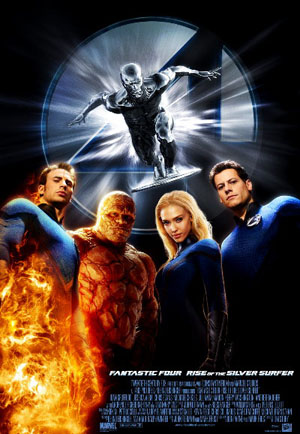 Pictured is the US promotional one-sheet for the 2007 Tim Story film Fantastic Four: The Rise of the Silver Surfer, starring Ioan Gruffudd.