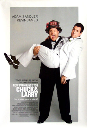Pictured is the US promotional one-sheet for the 2007 Dennis Dugan film I Now Pronounce You Chuck and Larry starring Adam Sandler and Kevin James.