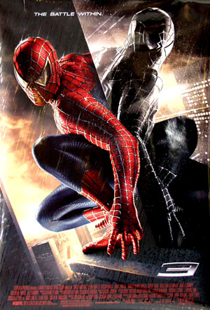 Pictured is the US promotional one-sheet poster for the 2007 Sam Raimi film Spider-Man 3, starring Tobey Maguire.