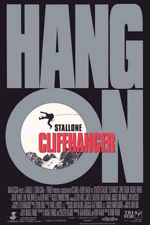 Pictured is the US promotional one-sheet poster for the 1993 Renny Harlin film Cliffhanger starring Sylvester Stallone.