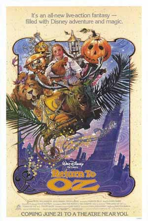 Pictured is the US promotional one-sheet poster for the 1985 Walter Murch film Return to Oz, starring Fairuza Balk.