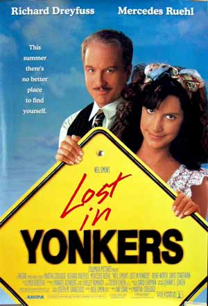 Pictured is the US promotional one-sheet poster for the 1993 Martha Coolidge film Lost in Yonkers starring Richard Dreyfus and Mercedes Ruehl.