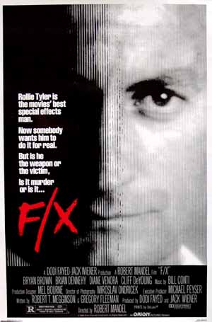Pictured is the US one-sheet promotional poster for the 1986 Robert Mandel film F/X starrinig Bryan Brown.