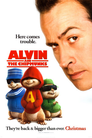 This is a picture of the US style B advance promotional poster for the 2007 Tim Hill film Alvin and the Chipmunks starring Jason Lee.