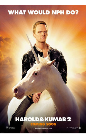 Pictured is the US promotional advance one-sheet poster for the 2008 Jon Hurwitz and Hayden Schlossberg film Harold and Kumar Escape from Guantanamo Bay starring John Cho and Kal Penn, showing Neal Patrick Harring Riding a unicorn.