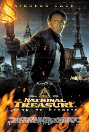 Pictured is the US one-sheet promotional poster for the 2007 Jon Turteltaub film National Treasure: Book of Secrets, starring Nicolas Cage.