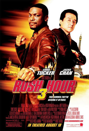 Pictured is the US promotional one-sheet poster for the 2007 Brett Ratner film Rush Hour 3 starring Chris Tucker and Jackie Chan.