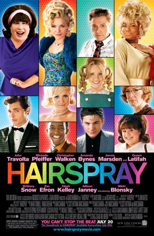 Pictured is the US promotional one-sheet poster for the 2007 Adam Shankman film Hairspray, starring John Travolta.