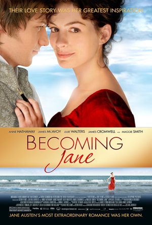 Pictured is the US promotional one-sheet poster for the 2007 Julian Jarrold film Becoming Jane starring Anne Hathaway.