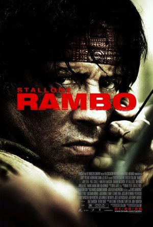Pictured is the US promotional one-sheet poster for the 2008 Sylvester Stallone film Rambo starring Sylvester Stallone.