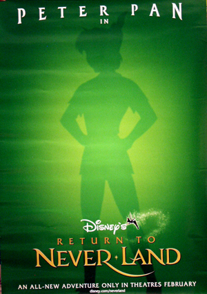 Pictured is a miniature promotional poster for the 2002 Robin Budd film Return to Neverland, starring Harriet Owen.