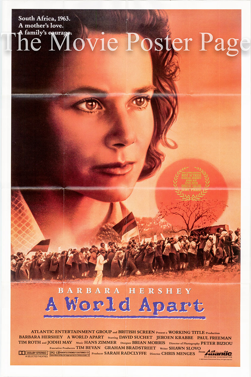 Pictured is the US promotional one-sheet poster for the 1988 Chris Menges film A World Apart starring Barbara Hershey.