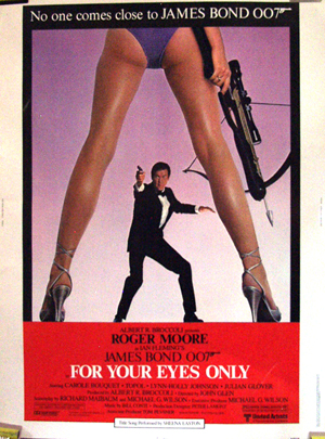 Pictured is the US 30x40 promotional poster for the 1981 John Glen film For Your Eyes Only, starring Roger Moore and Carole Bouquet.