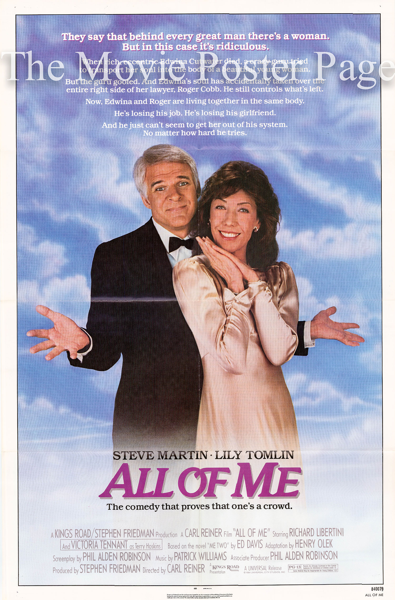 Pictured is a US one-sheet poster for the 1984 Carl Reiner film <i>All of Me</i> starring Steve Martin.