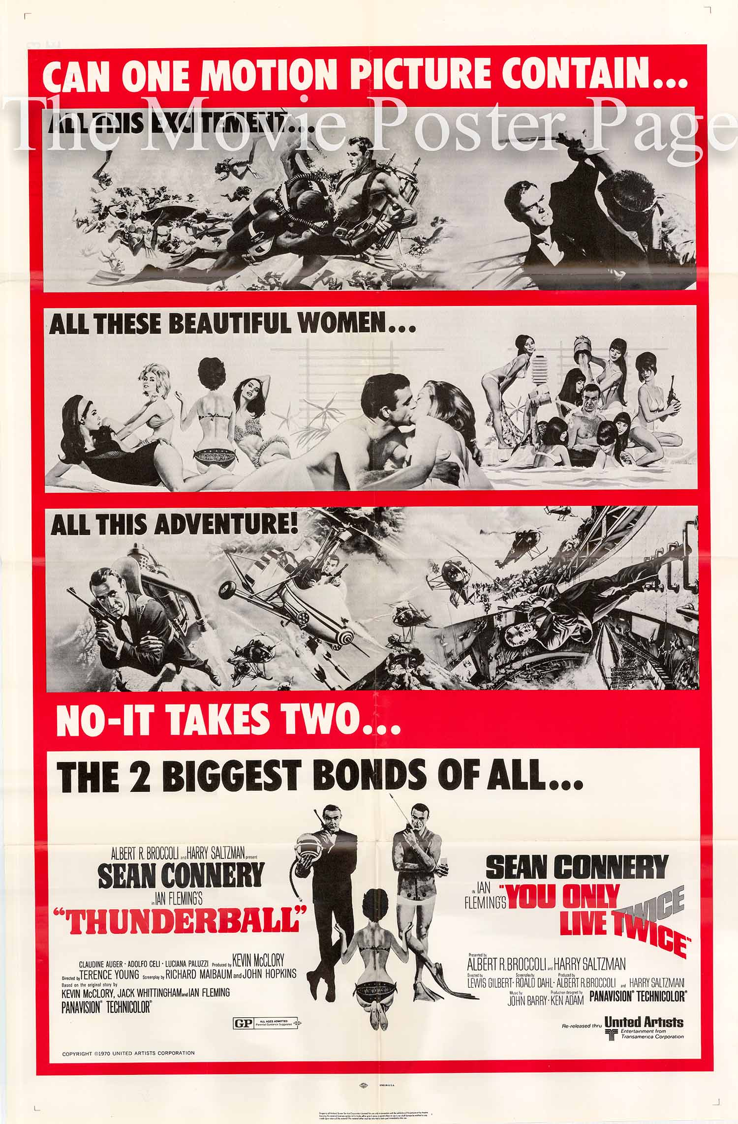 Pictured is a US combo one-sheet poster for promoting a 1971 double feature rerelease of the films Thunderball and You Only Live Twice starring Sean Connery as James Bond.