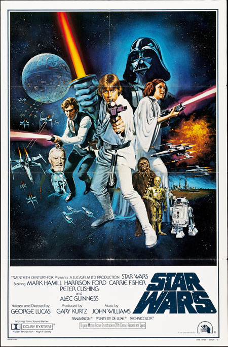 Pictured is a Style C US one-sheet promotional poster for the 1977 George Lucas film Star Wars starring Mark Hamill.