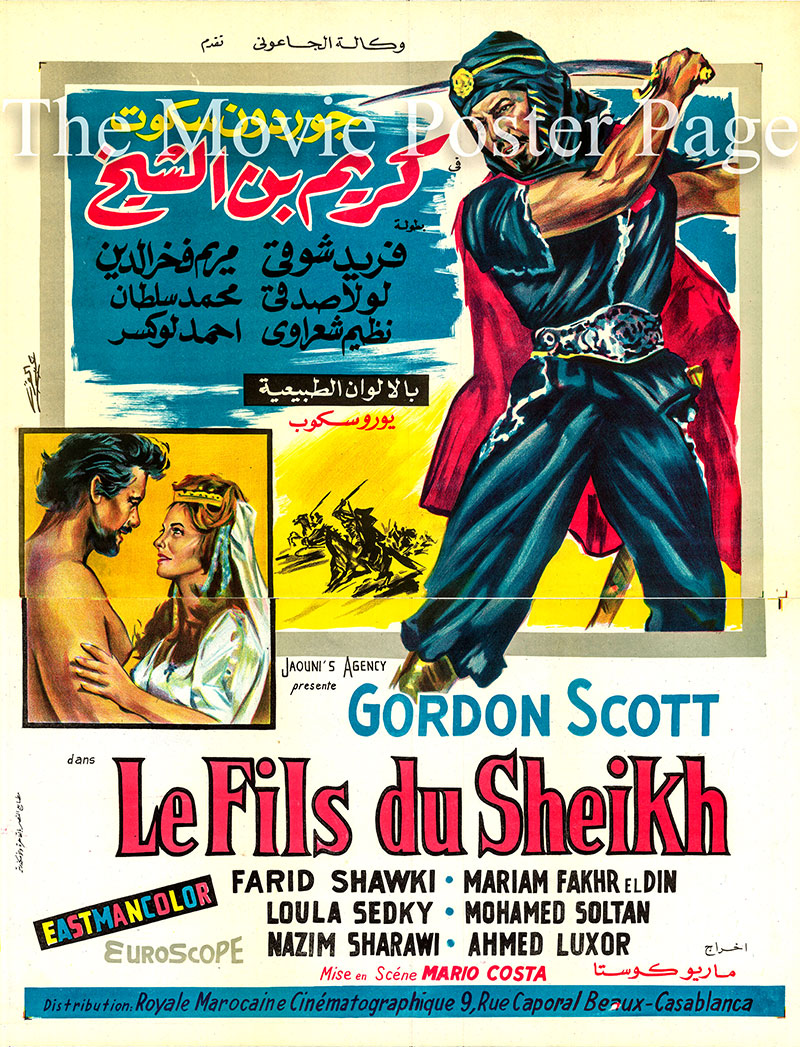 Pictured is an Egyptian two-piece promotional poster for the 1962 Mario Costa film Karim Son of the Sheikh starring Gordon Scott.