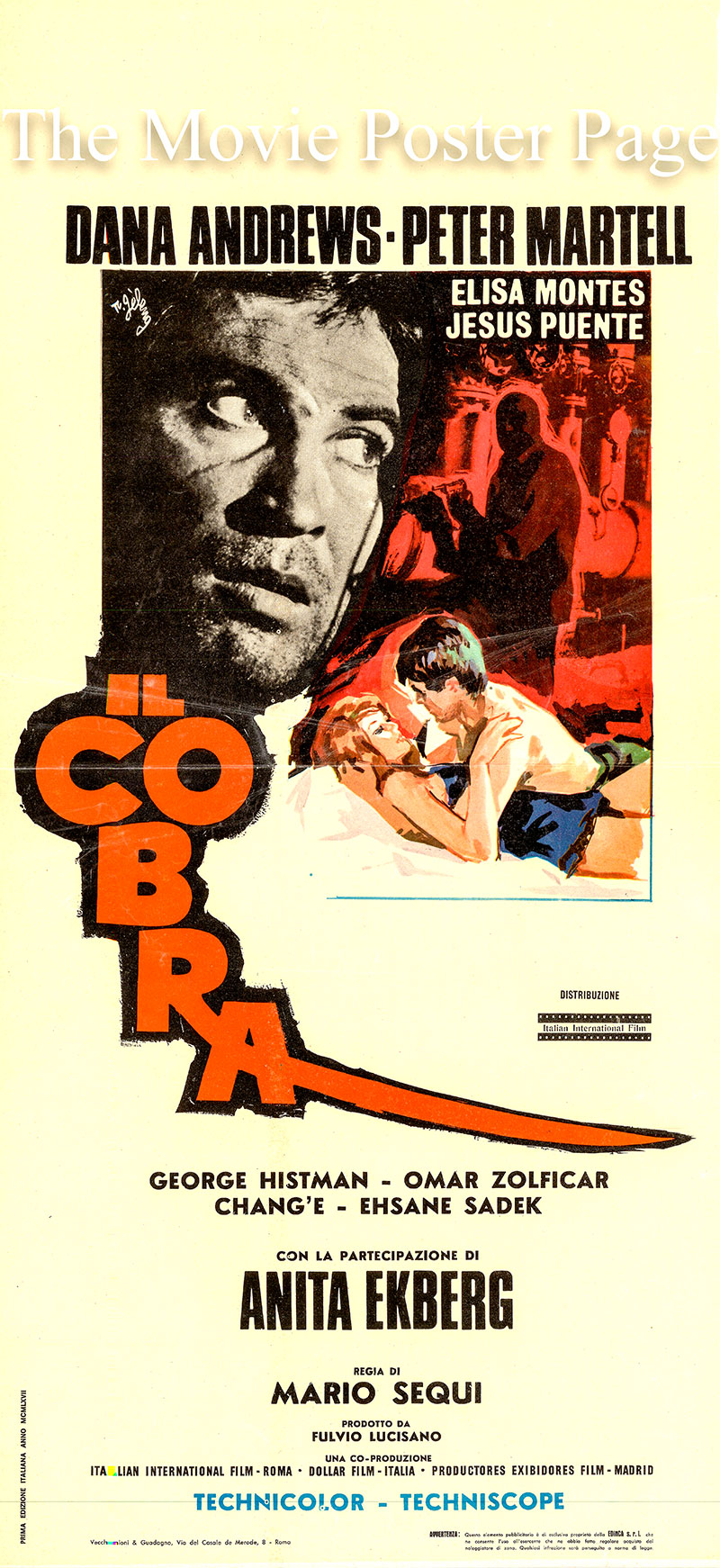 Pictures is the 1968 Italian locandina promotional poster for the Mario Segui film The Cobra, starring Anita Ekberg.