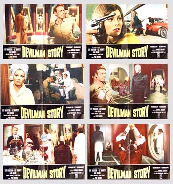 Pictured are six Italian busta posters for the 1967 Paolo Bianchini film Devilman Story, starring Guy Madison.