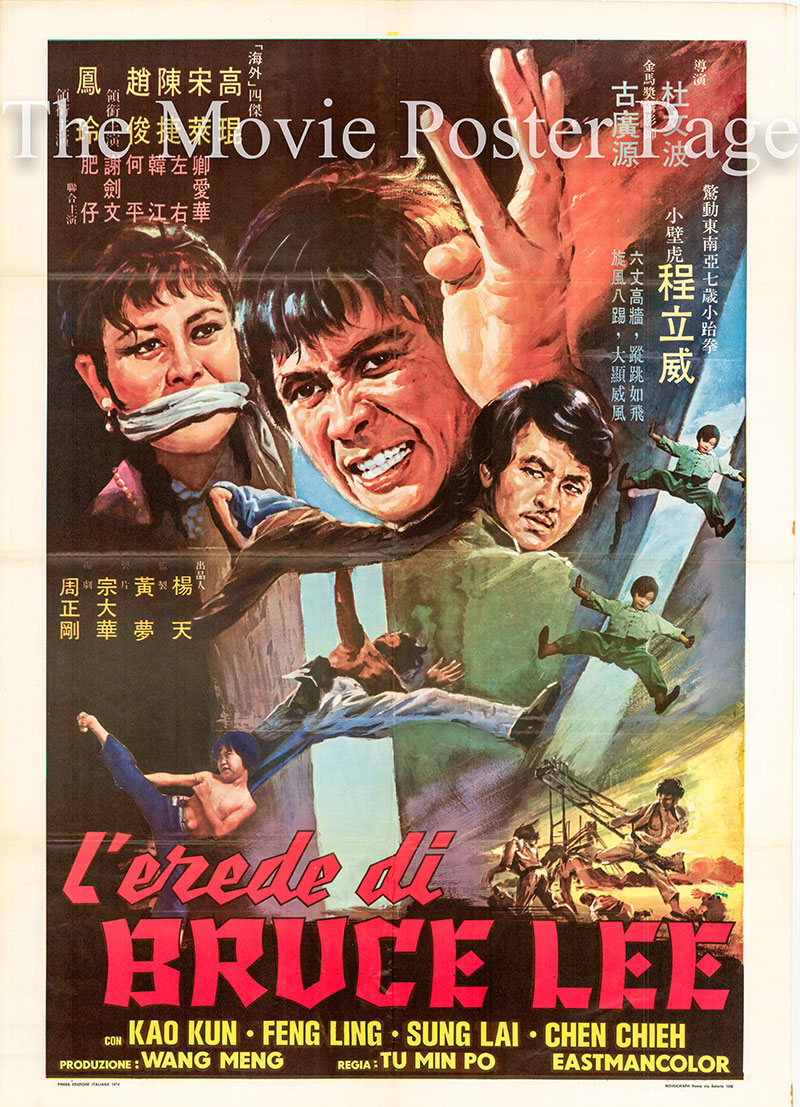 Pictured is the Italian two-sheet promotional film for the 1973 Wen Po Tu film Return of the Hero of the Waterfront, starring Jackie Chen.