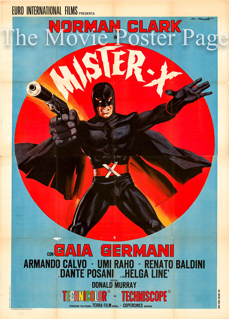 Pictured is the Italian four-sheet promotional poster for the 1967 Piero Vivarelli film Mister X starring Norman Clark and Gaia Germani