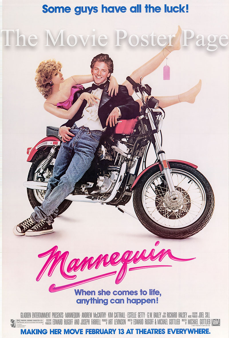 Pictured is a US one-sheet poster for the 1987 Michael Gottlieb film Mannequin starring Andrew McCarthy.