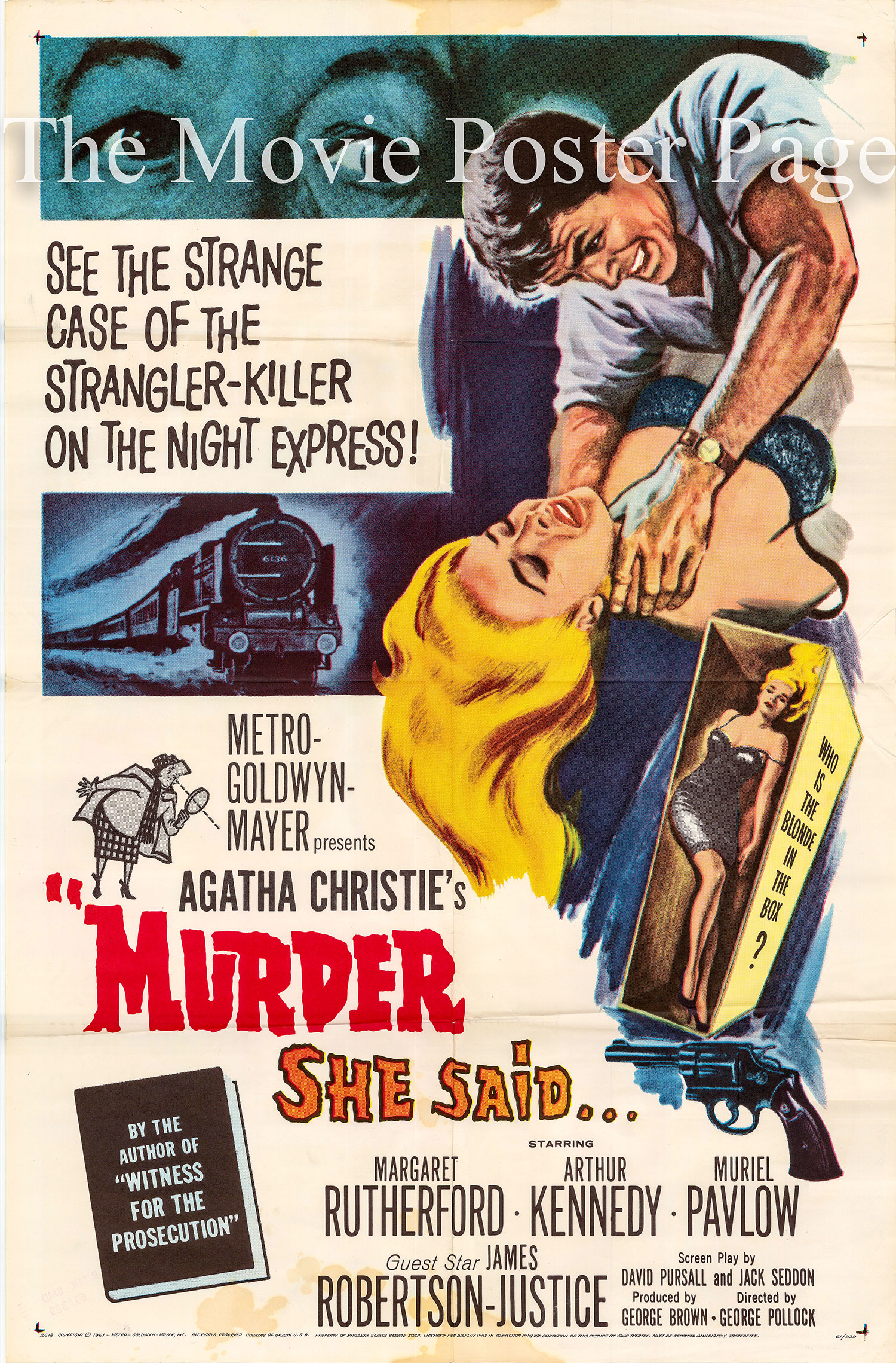 Pictured is a US promotional one-sheet poster for the 1961 George Pollock film Murder She Said starring Margaret Rutherford.
