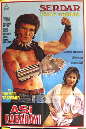 Pictured is a Turkish promotional poster for the 1986 Cetin Inanc film Asi Kabadayi starring Filiz Tacbas.