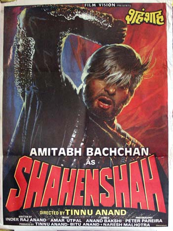 Pictured is an Indian promotional poster for the 1988 Tinnu Anand film Shahenshah starring Amitabh Bachchan.
