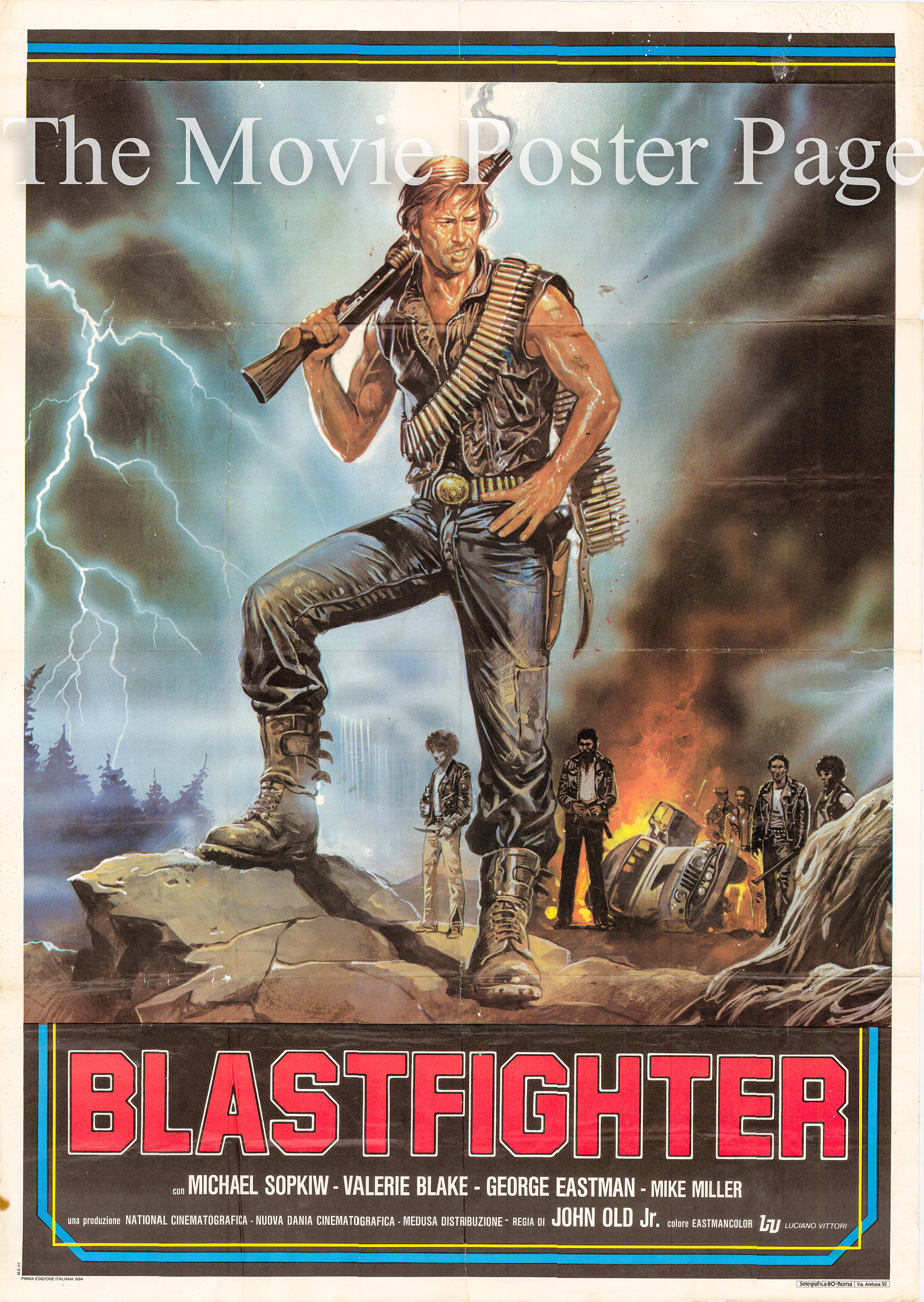 Pictured is an Italian two-sheet promotional poster for the 1984 Lamberto Bava film Blastfighter starring Michael Sopkiw.