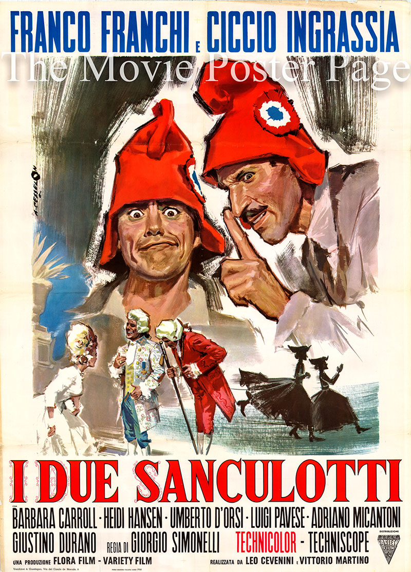 Pictured is an Italian two-sheet promotional poster for the 1966 Giorgio Simonelli film I Due Sanculotti, starring Franco Franchi.