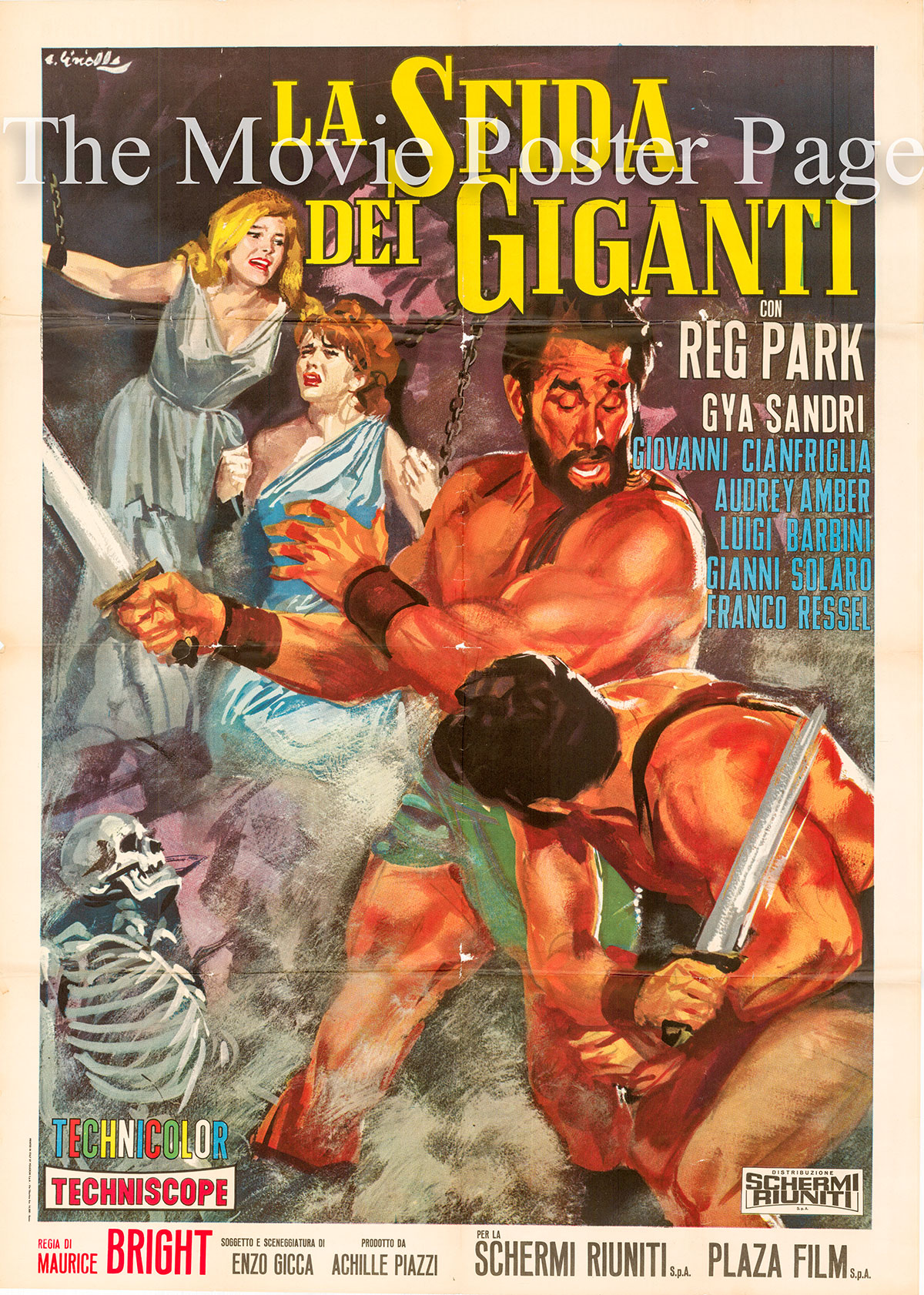 Pictured is an Italian two-sheet promotional poster for the 1965 Maurizio Lucidi film Hercules the Avenger, starring Reg Park.