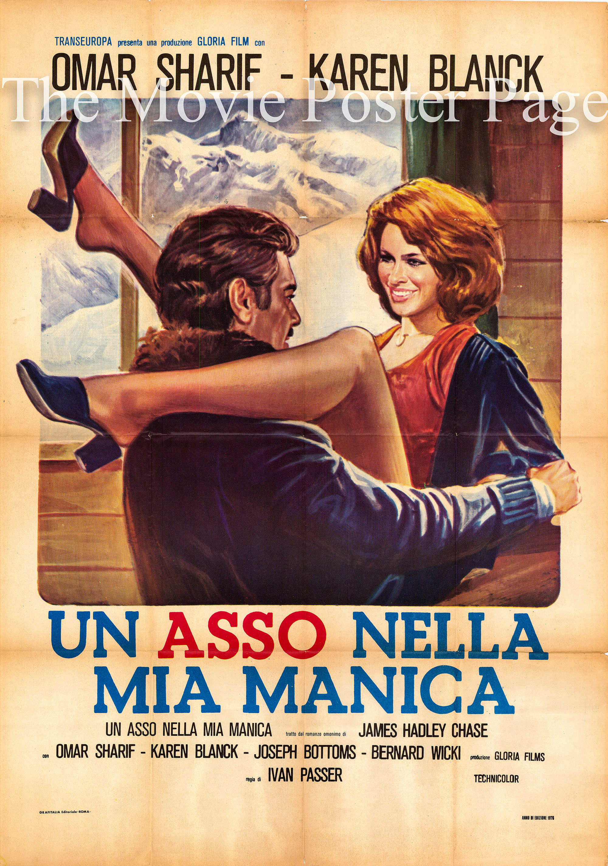 Pictured is an Italian two-sheet promotional poster for the 1976 Ivan Passer film Crime and Passion, starring Omar Sharif and Karen Black.