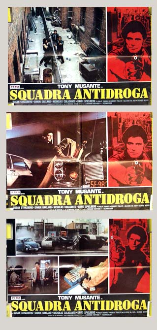 Pictured are three Italian photobusta promotional posters for the 1977 Richart T. Heffron film Squadra Antidroga, starring Tony Musante.