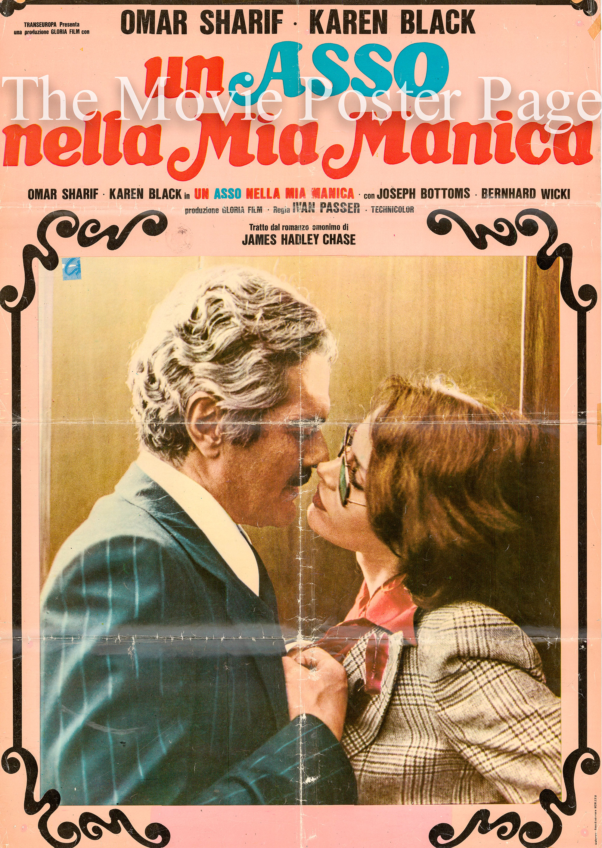 Pictured is an Italian photobusta promotional poster for the 1976 Ivan Passer film Crime and Passion, starring Omar Sharif and Karen Black.