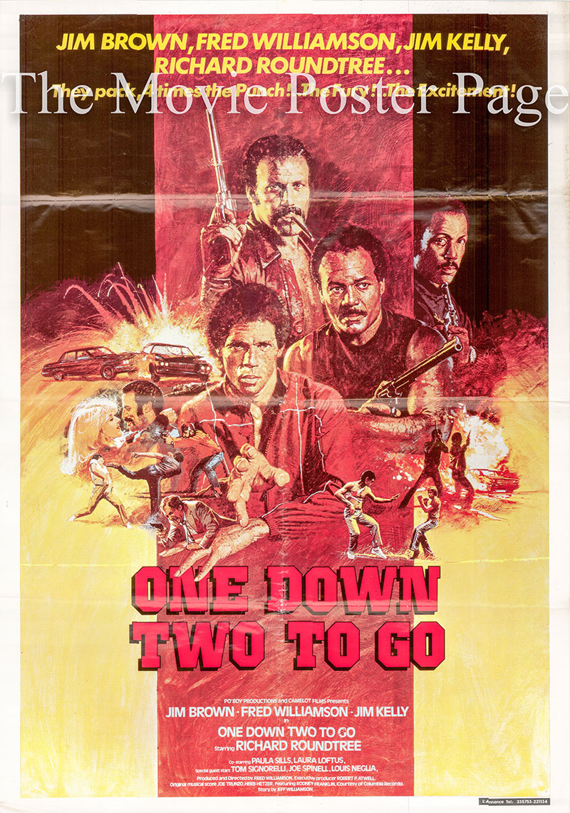 Pictured is a Lebanesepromotional one-sheet poster for the Fred Williamson film One Down Two to Go starring Jim Brown and Richard Roundtree.
