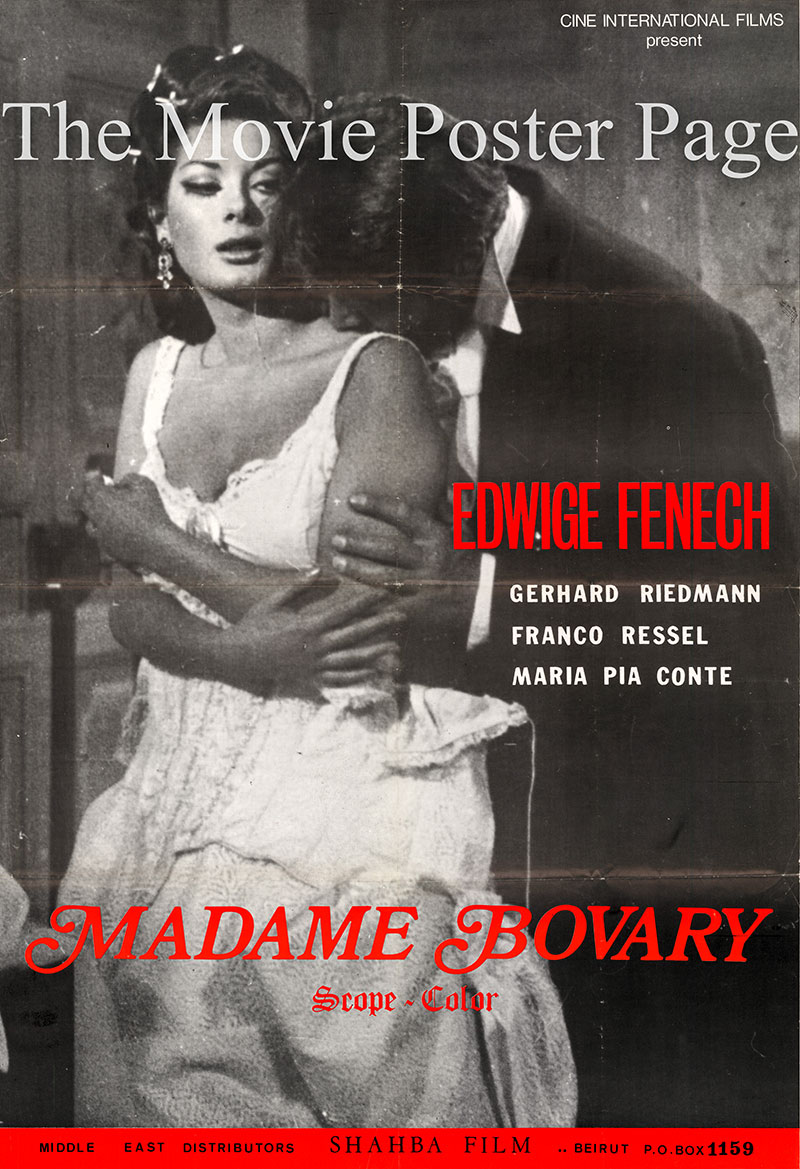 Pictured is a Lebanese promotional film poster for the 1969 Hans Schott-Schobinger film Madame Bovary starring Edwige Fenech.