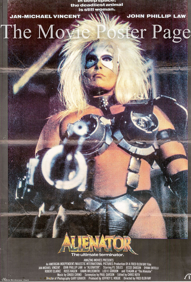 Pictured is a Lebanese promotional poster for the 1989 Fred Olen Ray film Alienator starring Jan-Michael Vincent.