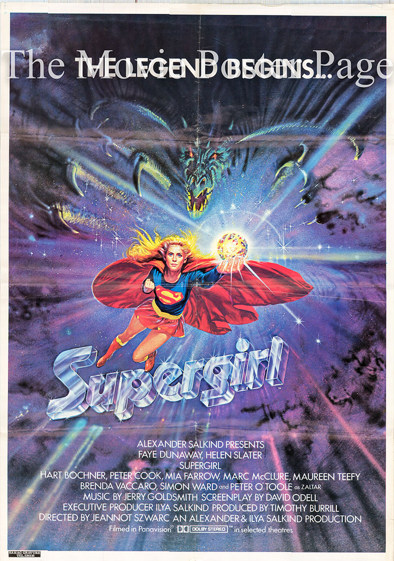 Pictured is the Lebanese promotional poster for the 1984 Jeannot Szwarc film Supergirl starring Faye Dunaway.