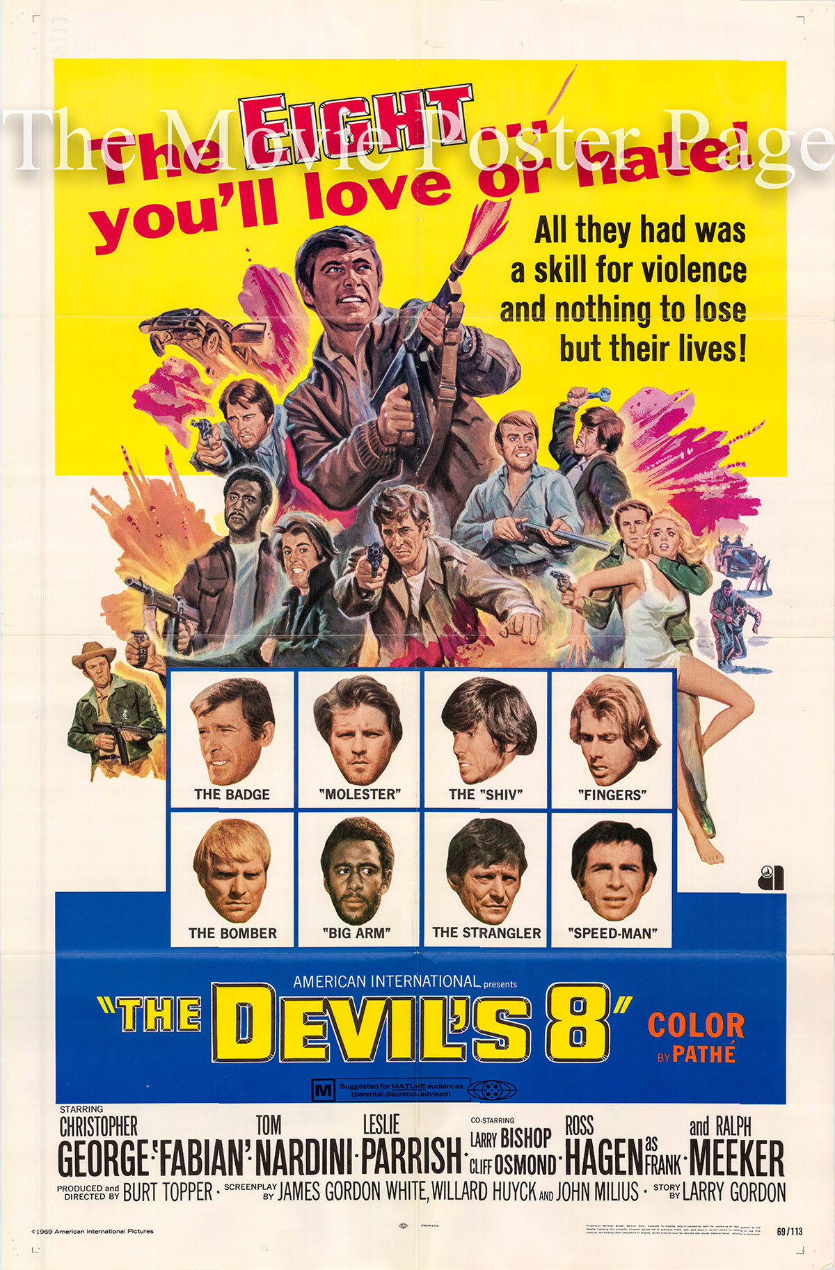 Pictured is a US one-sheet promotional poster for the 1969 Burt Topper film The Devils 8 starring Christopher George as Ray Faulkner and Fabian as Sonny.
