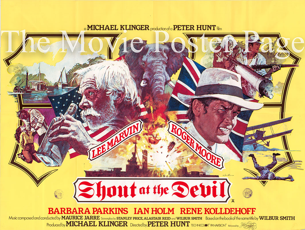 Pictured is the British Quad promotional poster for the 1976 Peter R. Hunt film Shout at the Devil starring Lee Marvin.
