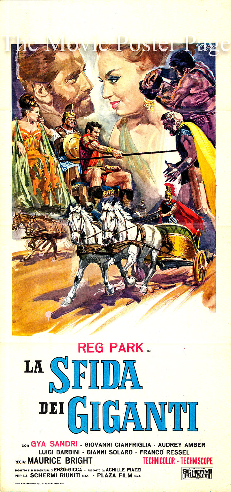 Pictured is an Italian locandina promotional poster for the 1965 Maurizio Lucidi film Hercules the Avenger, starring Reg Park.
